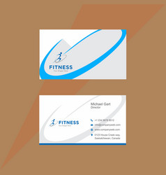 Standard blue and white business card vector