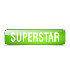 Superstar green square 3d realistic isolated web vector