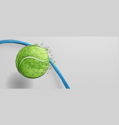 tennis ball on racket from lines triangles vector image