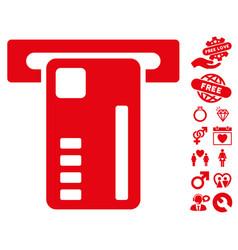 Ticket machine icon with dating bonus vector