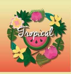 tropical watermelon flower natural decoration card vector image
