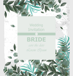 Wedding invitation frame beautiful round vector