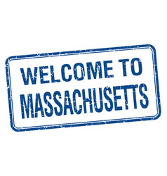 Welcome to massachusetts blue grunge square stamp vector