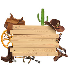 western board with cowboy accessories vector image