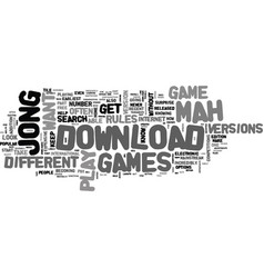 Where to download mah jong games text word cloud vector