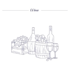 Wine Bottle Glass And Crate Of Grapes Hand Drawn vector image