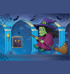 Witch on broom theme image 6 vector