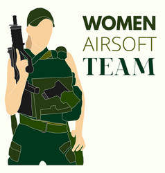 woman airsoft sport team vector image