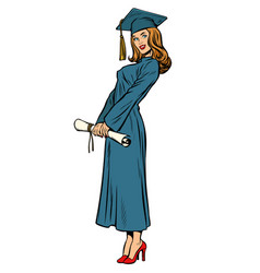 Woman graduate isolated on white background vector