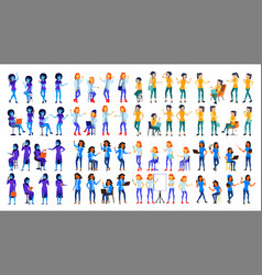woman set modern gradient colors people vector image