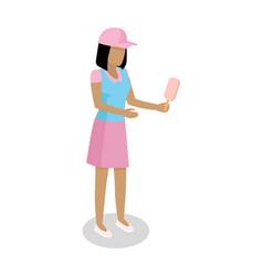 woman with ice-cream isometric icon vector image