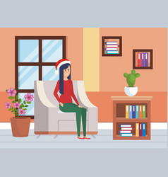 Woman with winter clothes in livingroom vector