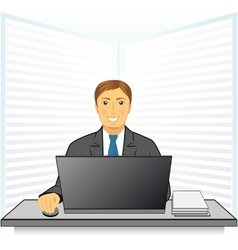 young man in business office vector image