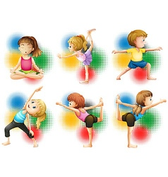 Children doing yoga and stretching vector image