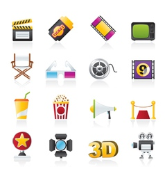 cinema and movie icons vector image vector image