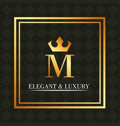 elegant and luxury monogram crown royal vector image