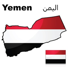 Flag and map of Yemen vector image