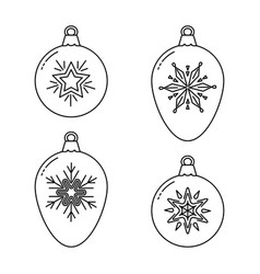 set of christmas bauble line icons vector image vector image