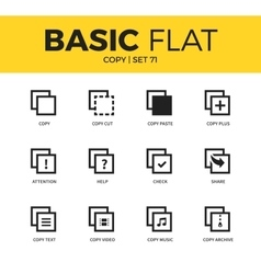 Basic set of copy icons vector