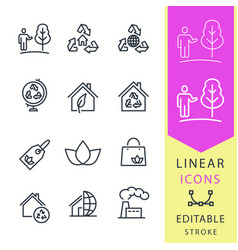ecology - line icon set editable stroke vector image vector image