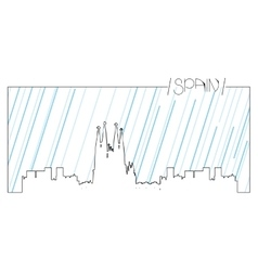 Isolated skyline of Barcelona vector image