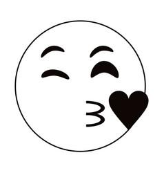 kiss love emoticon funny thin line vector image