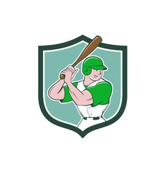 Baseball Player Batting Stance Shield Cartoon vector image vector image