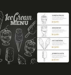 ice cream menu with prices - desserts blackboard vector image