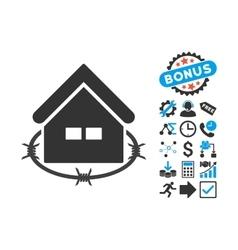 Prison Building Flat Icon with Bonus vector image
