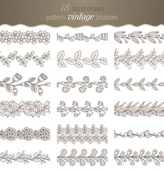 Set of 18 hand drawn pattern floral brushes vector image vector image