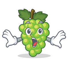 surprised green grapes mascot cartoon vector image