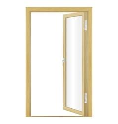an open wood door vector image