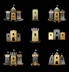 ancient forts emblems set heraldic coat of arms vector image