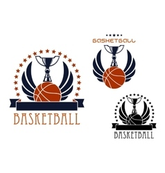 Basketball sporting emblems with game items vector image vector image