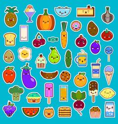 big set of kawaii character funny cartoon food vector image vector image