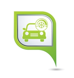 car with air conditioner icon on green pointer vector image vector image
