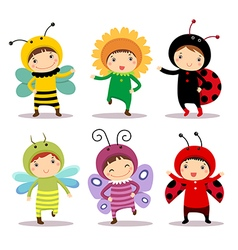 Cute kids wearing insect and flower costumes vector image vector image