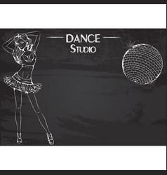 Dance line chalk club dance vector