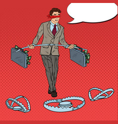 pop art business man walking over the traps vector image vector image