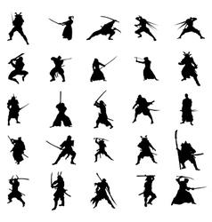 Samurai warriors silhouette set vector image vector image