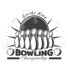 vintage bowling club template vector image vector image
