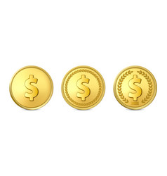 3d realistic golden metal dollar coin icon vector image