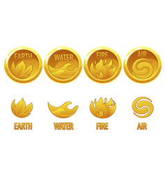 4 elements nature golden art icons water earth vector