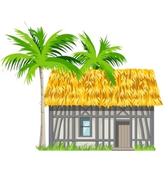 A house with a thatched roand palm trees vector