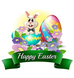 A smiling bunny with a happy Easter label vector image