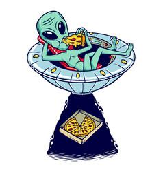 Alien eat pizza vector