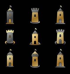 Ancient forts emblems set heraldic coat arms vector