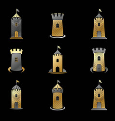 Ancient forts emblems set heraldic coat of arms vector