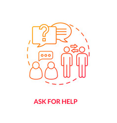 Ask for help red gradient concept icon vector