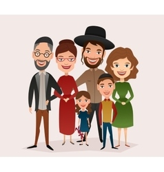 Big happy jewish family cartoon concept vector
